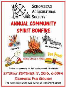 Community bonfire poster 2016 at Schomberg