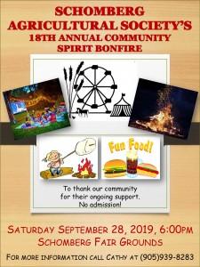 Community bonfire poster 2019 at Schomberg
