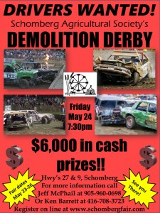 2019 Schomberg Fair Demolition Derby Poster